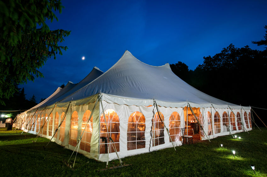 Party tent with sidewalls