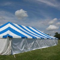 Blue and White Pole Tent for Wedding and Events in Kansas City